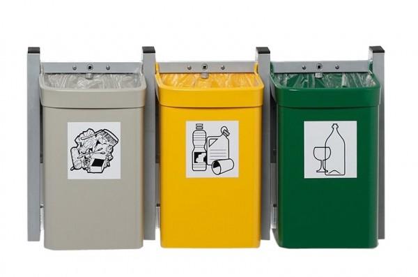 Abfallsammler City G 3 - Inh. 3 x 15 Liter - zur Wandbefestigung