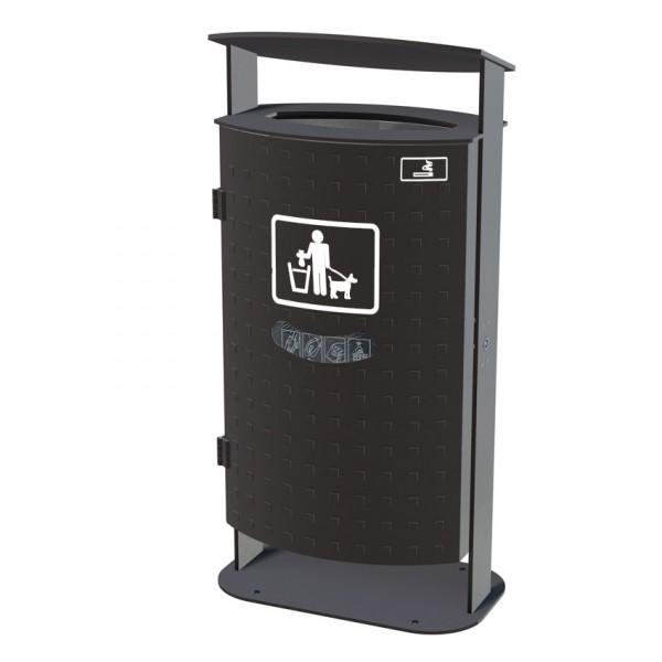 Abfallbehälter Java - Noppenblech - mit Beutelspender