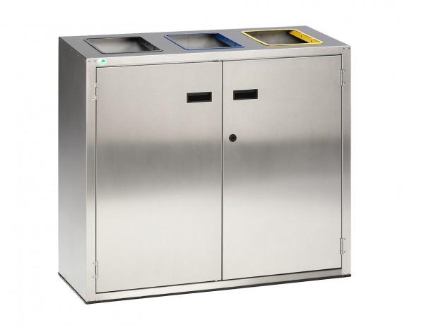 Wertstoffsammler WS 270 - 3 x 90 Liter - Edelstahl